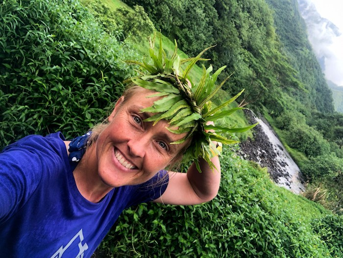 My Tahitian crown… my guide Enis taught me to make this!