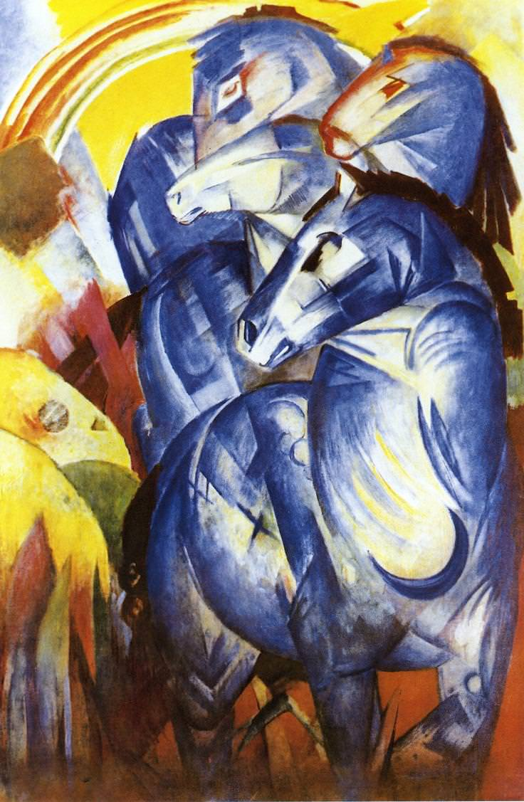 The Tower of Blue Horses   by Franz Marc, 1913