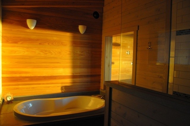 Master bedroom tub at sunset