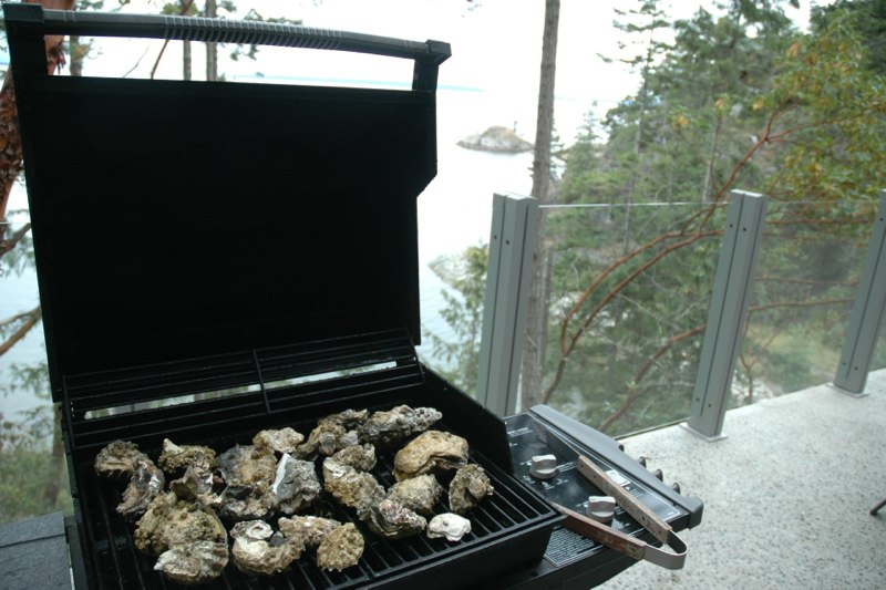 Barbeque oysters on the main deck