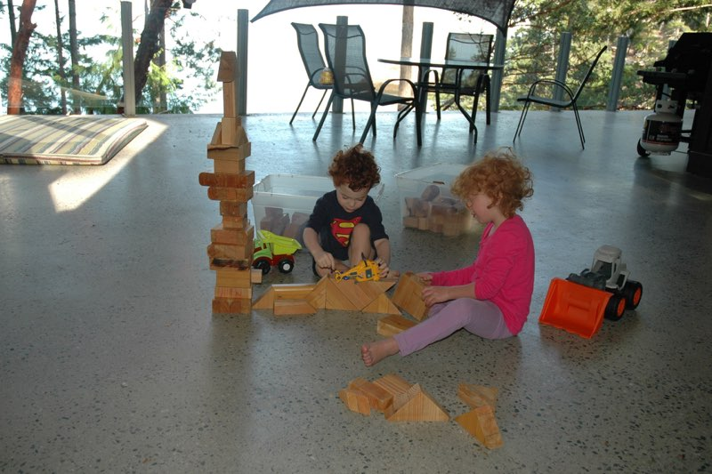 Wood blocks for kids on the main deck