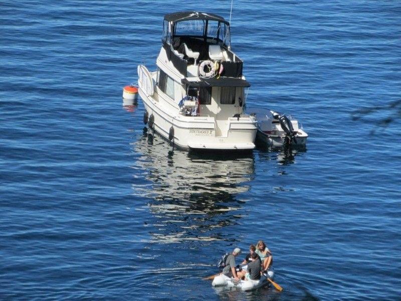 Boat on buoy in bay