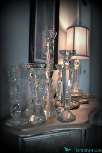 Crystal Candlesticks were the perfect dramatic accent for this glamorous bedroom!