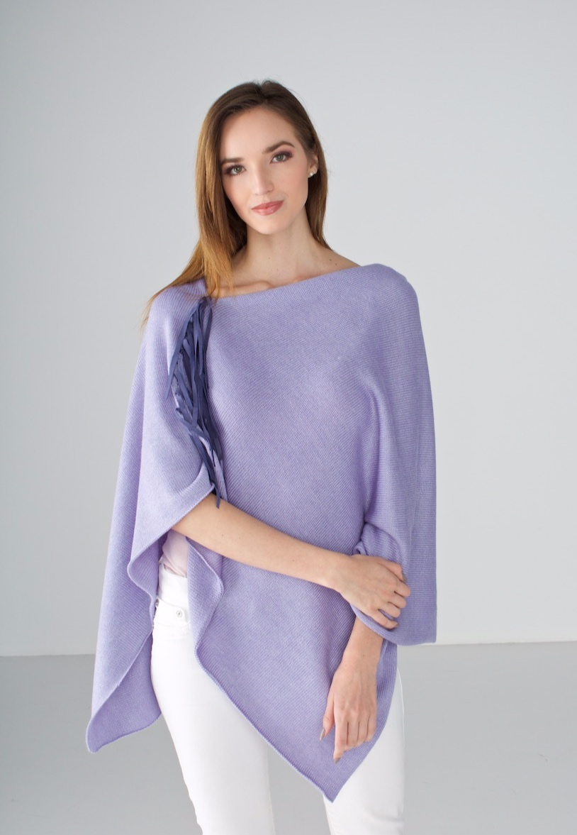 Lilac Poncho with Leather Fringe