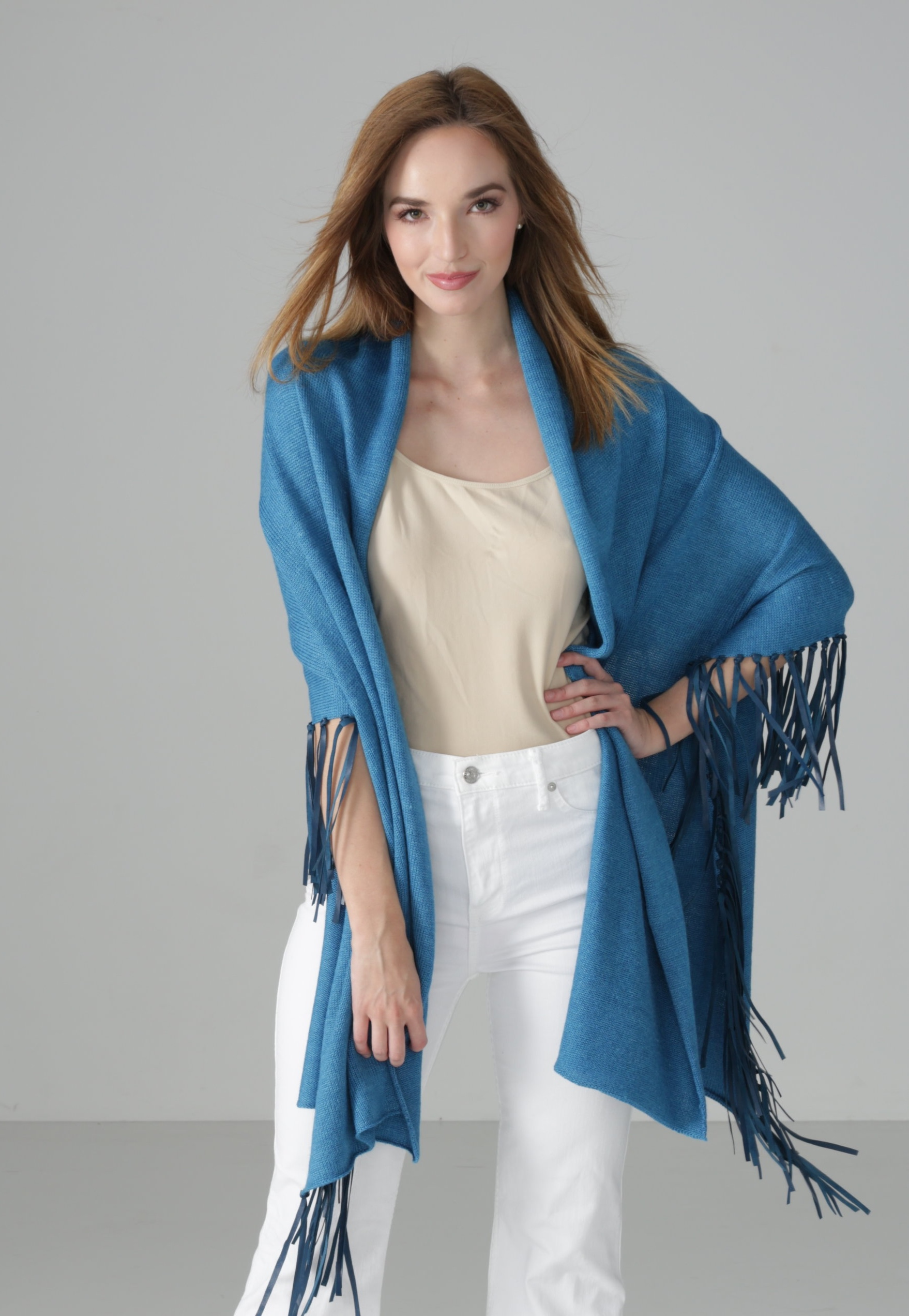 Marine Blue Wrap with Leather Fringe