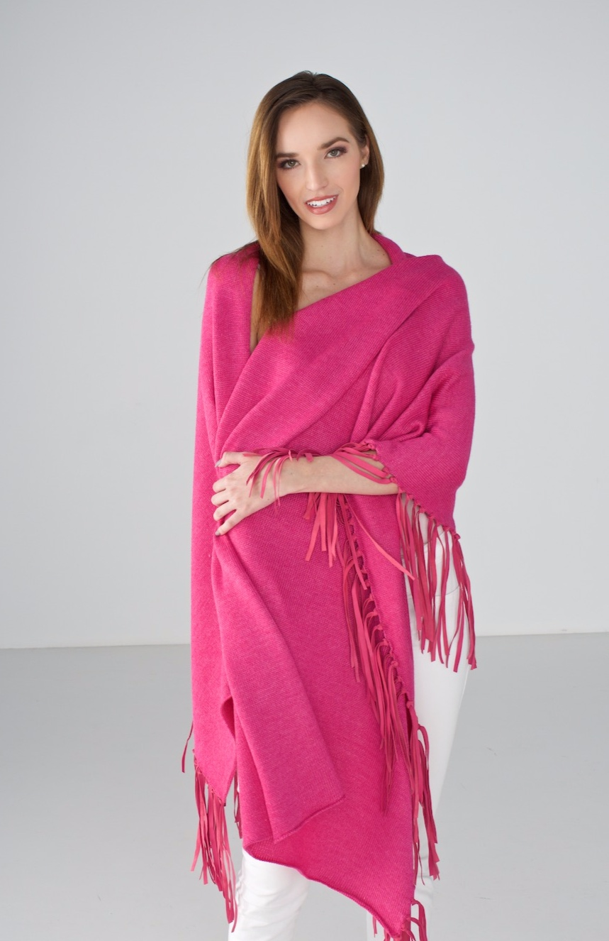 Magenta Wrap with Leather Fringe
