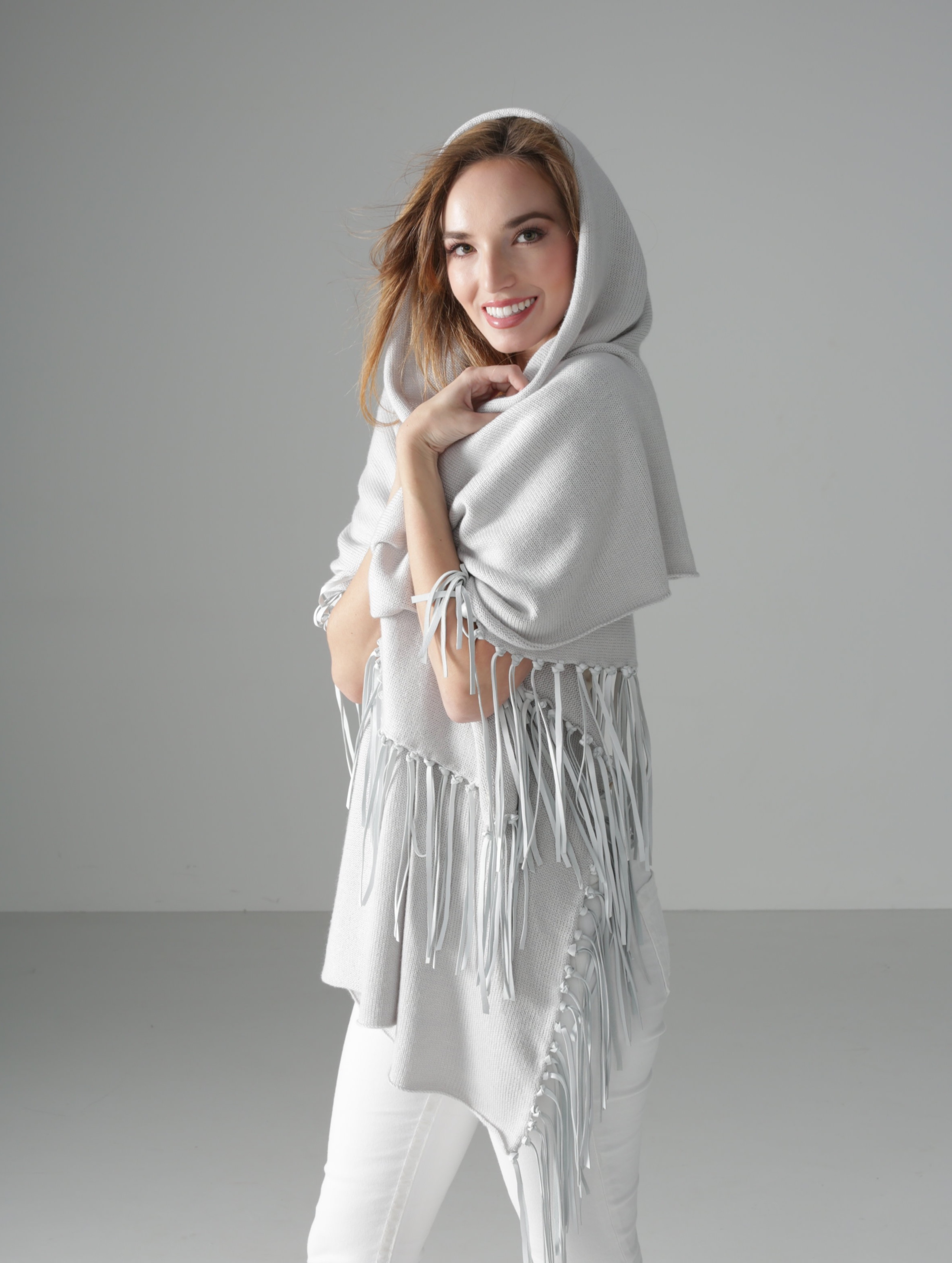 Dove Grey Wrap with Leather Fringe