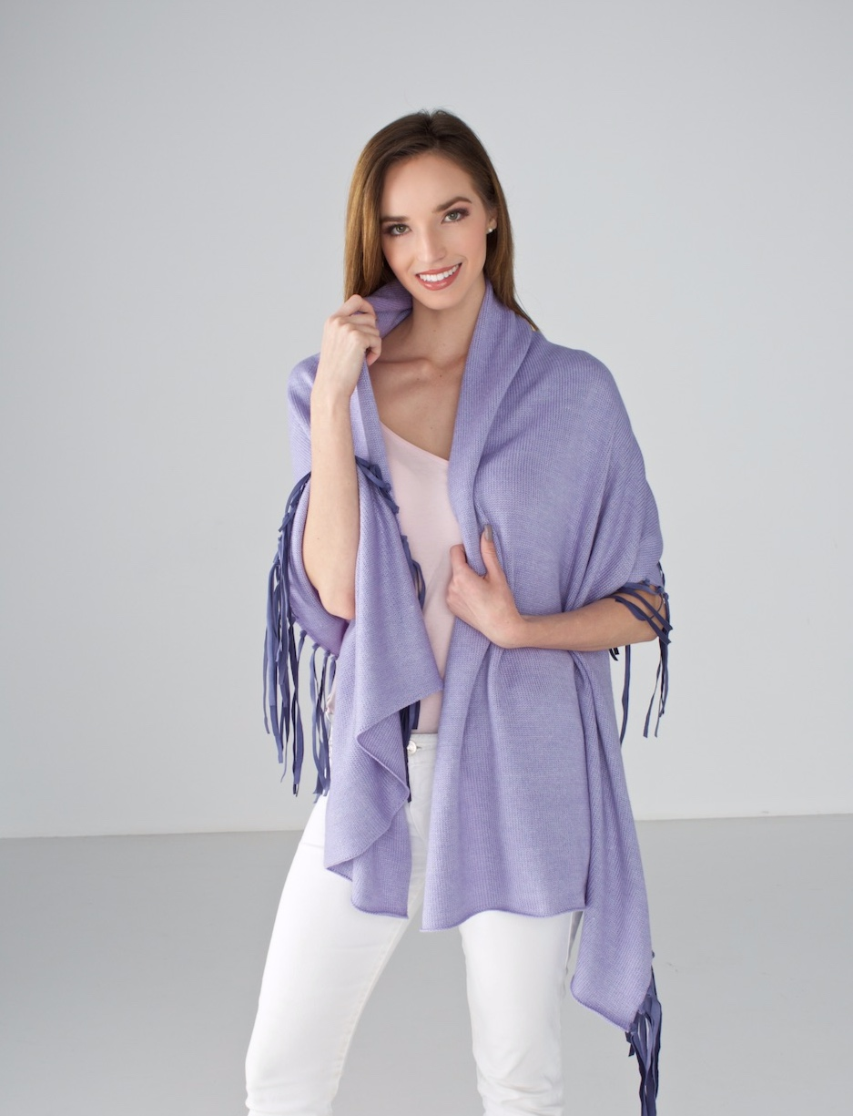 Lilac Wrap with Leather Fringe