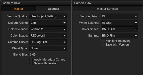 Red and BMCC Camera Raw Settings