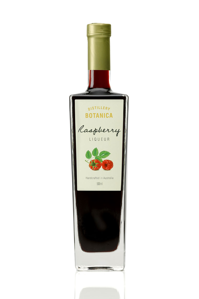 """Raspberry Liqueur - """"Philip Moore has hand crafted this luscious raspberry liqueur using cool climate Tasmanian raspberries, ripened to his own satisfaction. You'll be blown away by the taste of real raspberries in this versatile liqueur. Enjoy it neat, with ice, white wine, sparkling wine, soda water or in an array of delicious cocktails."""" — Sydney Morning Herald"""