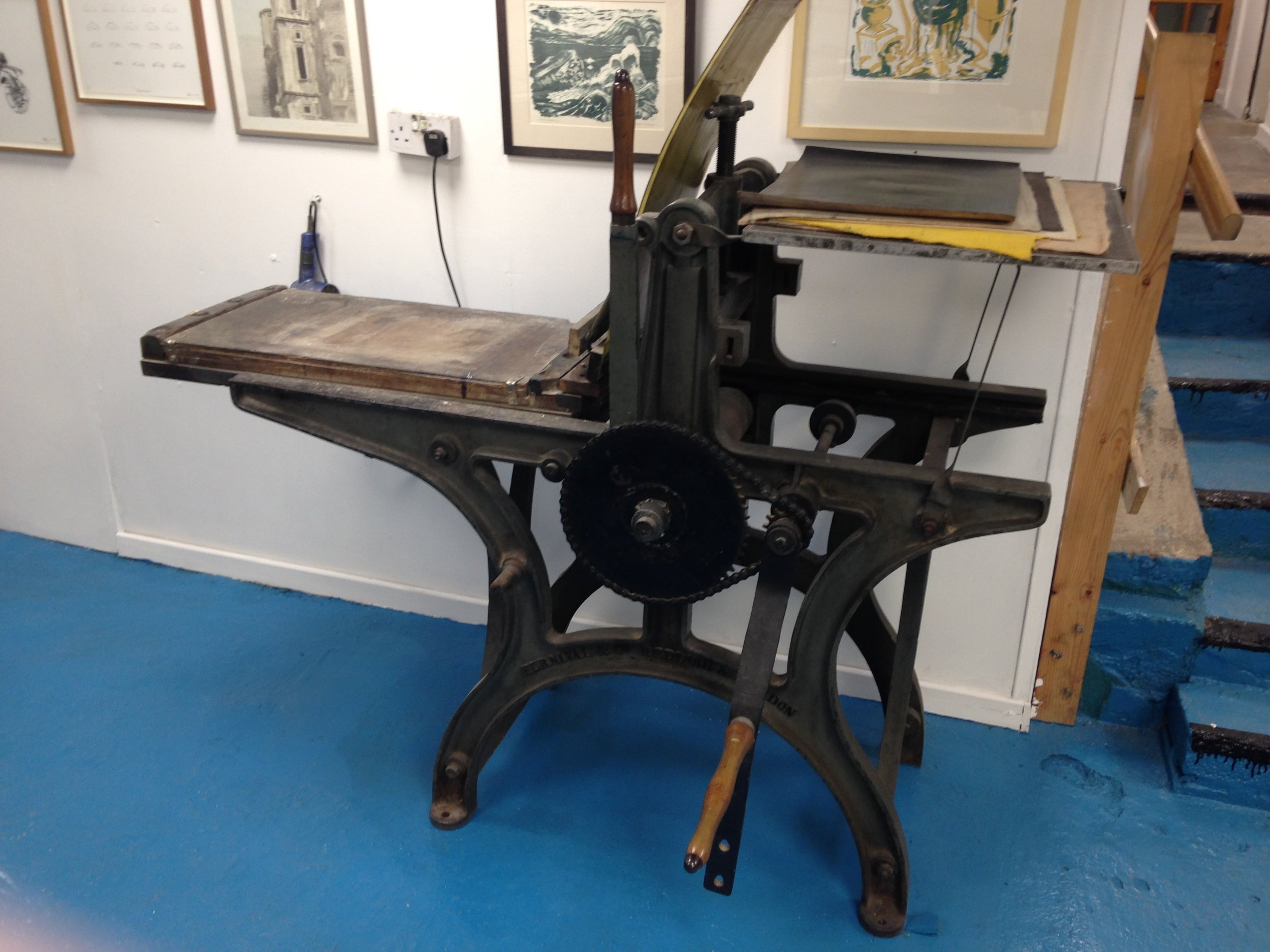 Furnival & Co Stone Lithography press  This is our geared lithography press, bed size 27' X 16'. We have in excess of 50 stones in the studio.