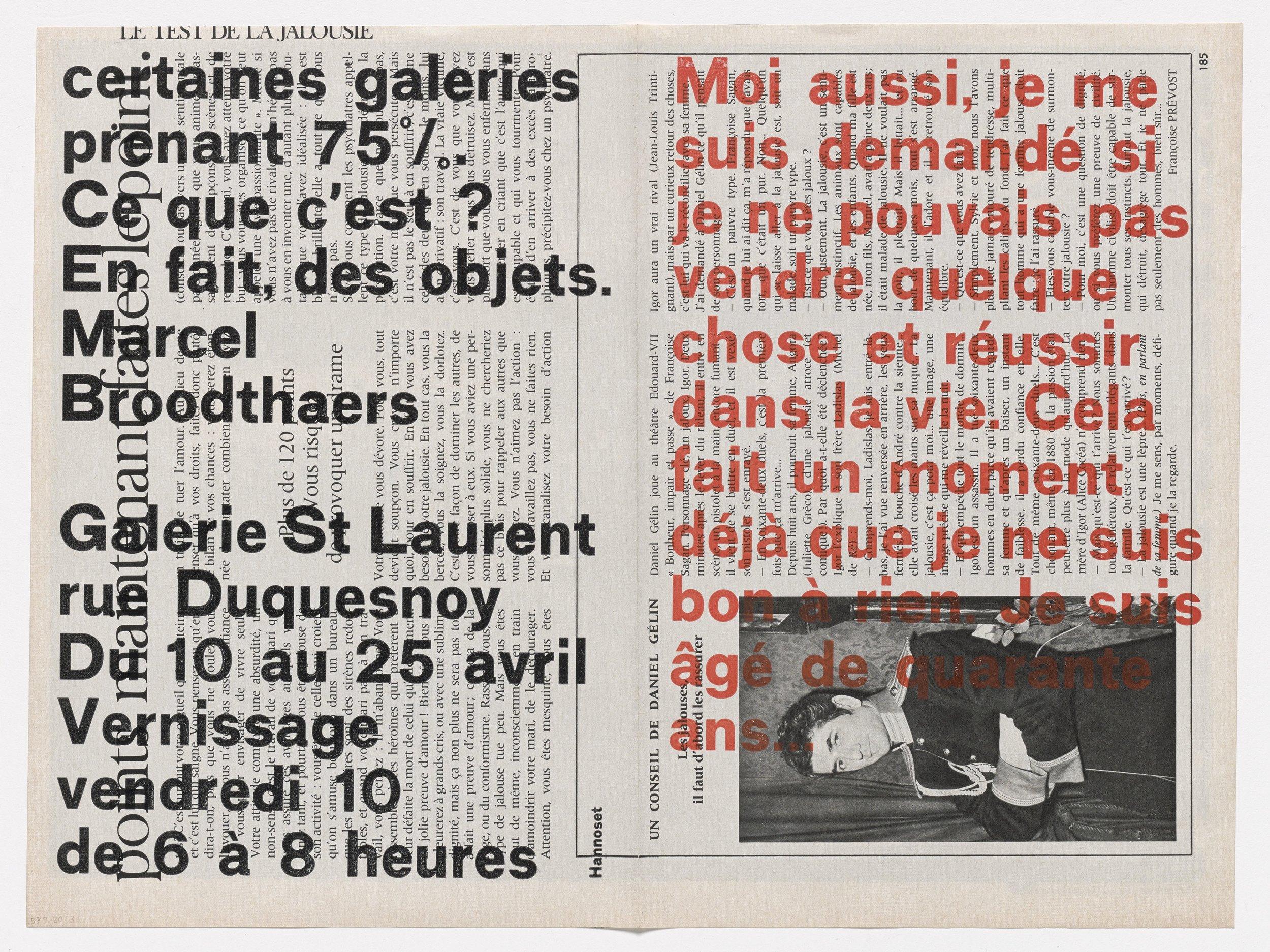 Marcel Broodthaers, Invitation à  Moi aussi, je me suis demandé si je ne pouvais pas vendre quelque chose et réussir dans la vie ..., Galerie Saint Laurent, 10-25 Avril, 1964