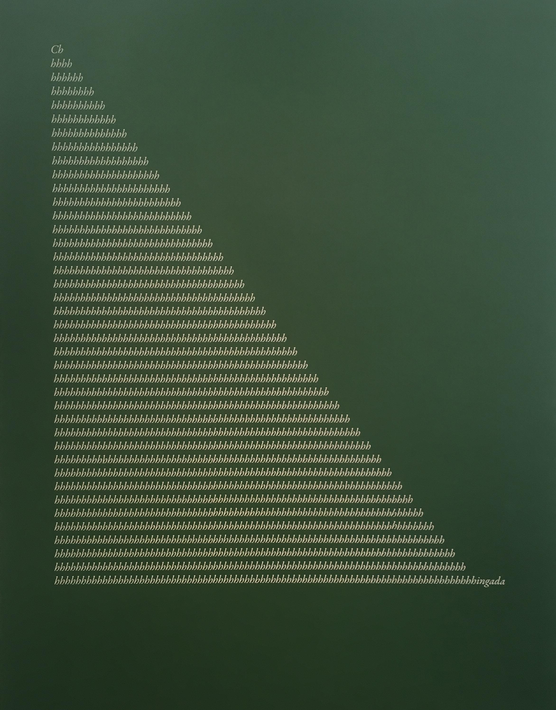 Jorge Méndez Blake,  Apollinaire's Misspell I (Green) , 2017, Acrylic on linen, 260 x 200 cm