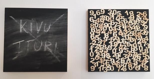 Aimé Mpane,  Ituri et Kivu , 2017. Panneaux multiplex et acrylique.  J'ai oublié de rêver , vue d'exposition, MiLL - Musée Ianchelevici