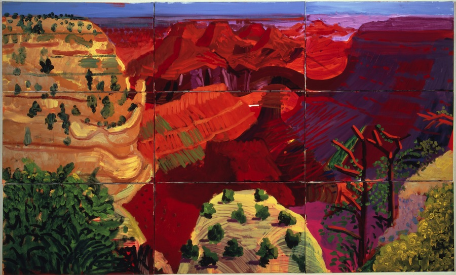 9 Canvas Study of the Grand Canyon  , 1998 [9 études sur toiles du Grand Canyon] Huile sur 9 toiles 100 x 166 cm   © David Hockney. Photo : Richard Schmidt Richard and Carolyn Dewey