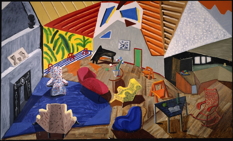 Large Interior, Los Angeles,   1988 [Grand intérieur, Los Angeles, 1988] Huile, encre, papier collé sur toile 183,5 x 305,4 cm © David Hockney. Collection Metropolitan Museum of Art, New York, ourchase, Natasha Gelman gift, in honor of William S. Lieberman 1989