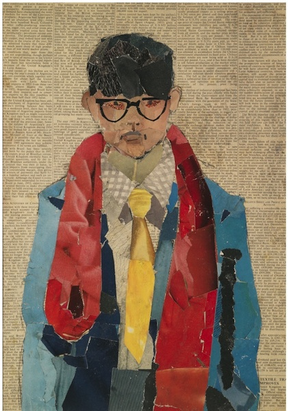 Self Portrait  , 1954 [Autoportrait] Collage sur papier journal 41,9 x 29.8 cm © David Hockney Photo : Richard Schmidt Bradford Museums and Galleries, Bradford