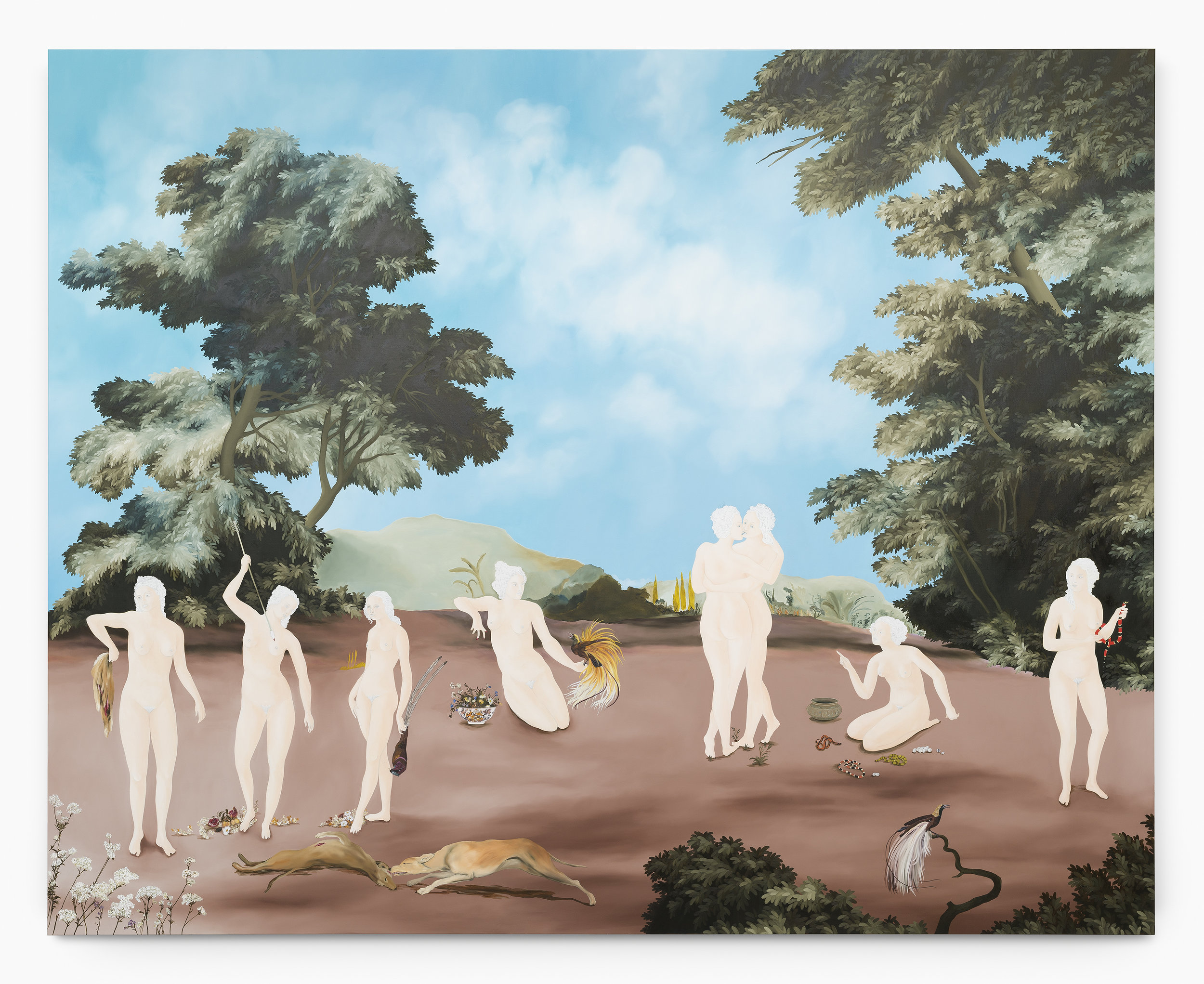 Sanam Khatibi,  Empire of the birds , 2017 Oil and pencil on canvas 200 x 250 cm 78 3/4 x 98 3/8 in. Image courtesy the artist galerie Rodolphe Janssen, Brussels Photo credit: Hugard & Vanoverschelde photography