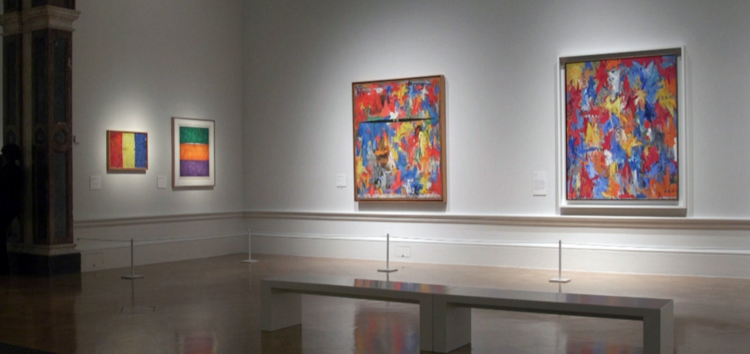 Jasper Johns - Something Resembling Truth , Royal Academy, London, exhibition view. Image courtesy: Royal Academy London. Middle painting: Jasper Johns,  Painting With Two Balls , 1960