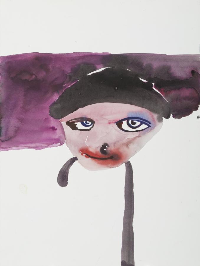 Anne-Marie Schneider, sans titre (autoportrait avec canne), 2007. Gouache sur papier, 40 x 30 cm. Courtesy of the artist and Michel Rein, Brussels