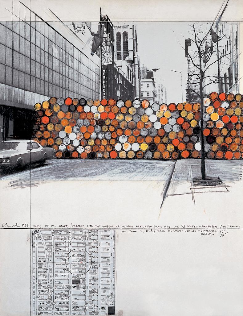 Christo et Jeanne-Claude, esquisse du projet rue Visconti, 1961