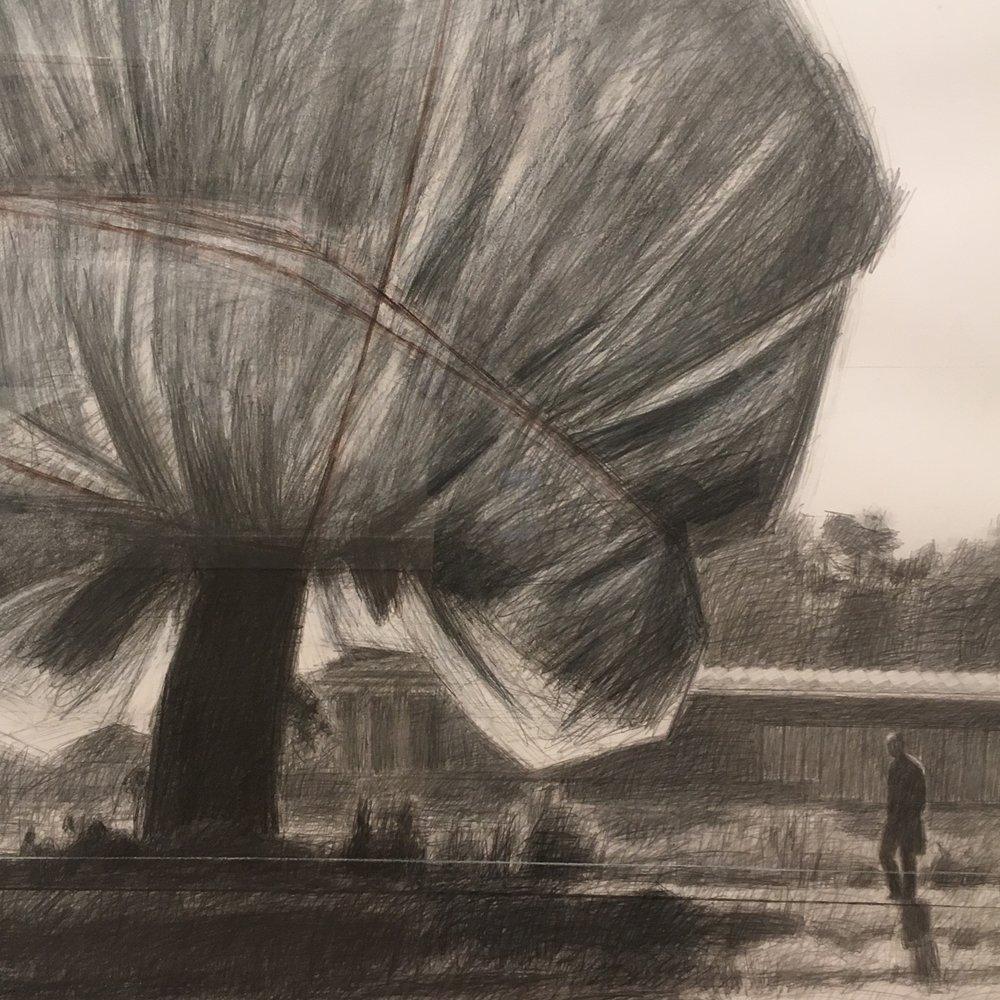 Détail, esquisse de Christo et Jeanne-Claude