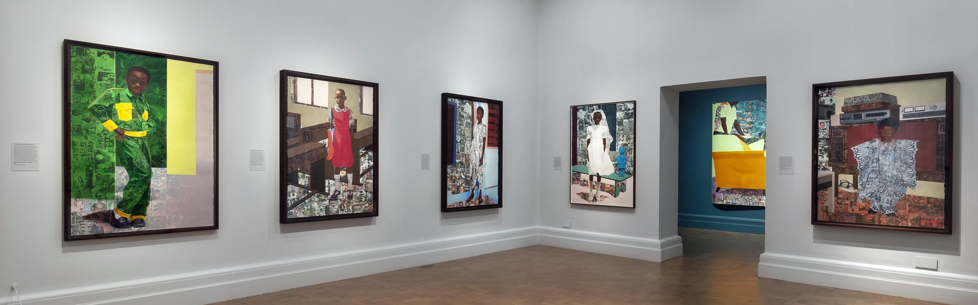 Njideka Akunyili Crosby,  The Beautyful Ones , National Portrait Gallery London, exhibition view. Image courtesy: National Portrait Gallery London