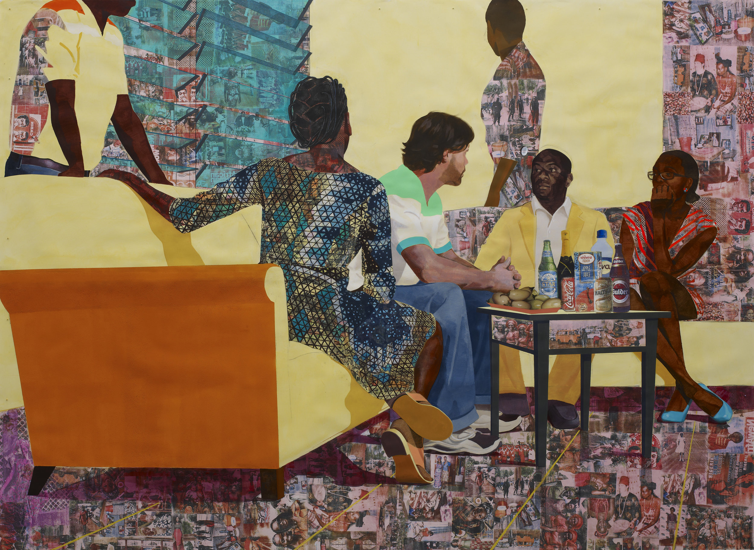Something Split and New, 2013 Acrylic, transfers, colored pencil, pastel, charcoal, marble dust and collage on paper, 7 ft.× 9.25 ft. © Njideka Akunyili Crosby Courtesy the artist and Victoria Miro, London/Venice