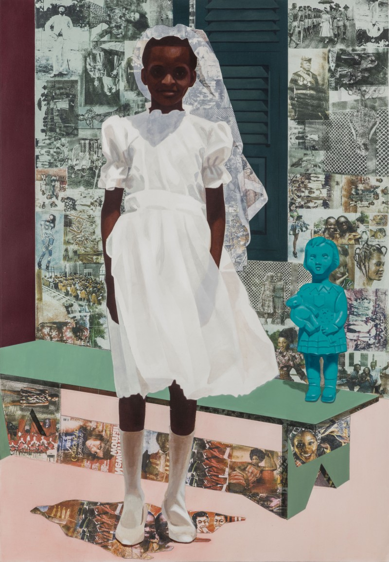 """The Beautyful Ones"" Series #4 by Njideka Akunyili Crosby, 2015 Acrylic, transfers and colored pencil on paper, 5.1 ft.× 3.5 ft. © Njideka Akunyili Crosby Courtesy the artist and Victoria Miro, London/Venice"