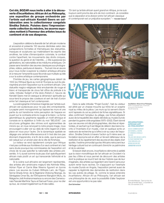 Zoé Schreiber, article publié dans l' Art même #79 , Chronique des arts plastiques de la Fédération Wallonie-Bruxelles, 3ème quadrimestre 2019, p.53.