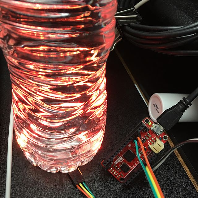"Making a ""bottle of light"" from Callisto, a neopixel ring and a water bottle.  only 18 lines of code too. #lua #maker #makered #makerspace #fablab #learning #electronics #engineering #robotics #robot #diy #stem #makerfaire #arduino #arrowelectronics"