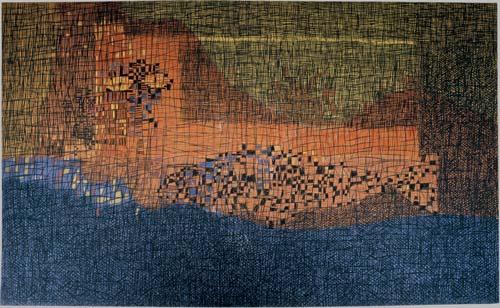 Žena a ryba, 1986, tempera, pastel, sololit, 145×245 cm