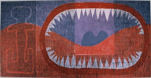 Zuby času Zuby času, 1987, tempera, pastel, papír, sololit, 125×245 cm