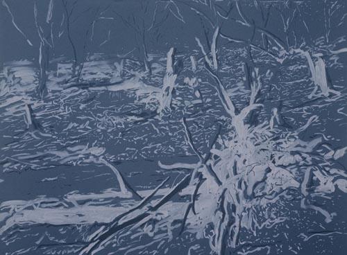 "z cyklu ""Šumava"", 1993-94,  kombinovana technika,  120×160 cm"