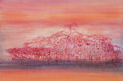 Plovoucí ostrovy, 2007, akryl na plátně, 200 x 300 cm