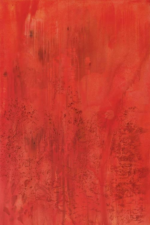 Jako v pekle – požár, 2007,  akryl na plátně,  300 x 200 cm