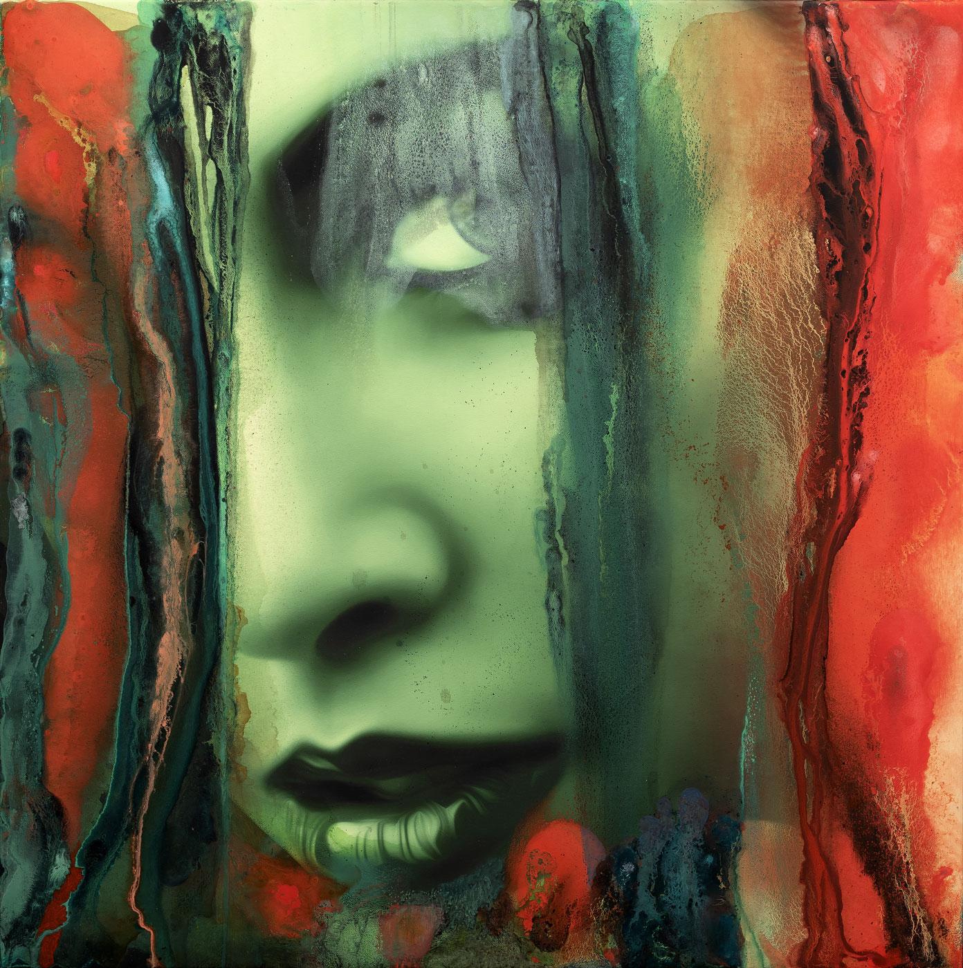Skrytá podobizna 2, 2018, kombinovaná technika na plátně, 100x100 cm
