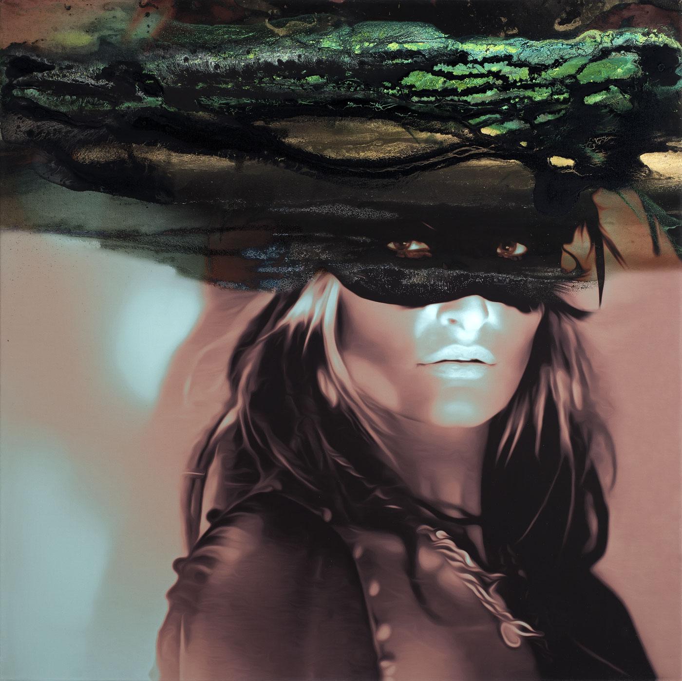 Skrytá podobizna TM, 2018, akryl a tisk na plátně, 100x100