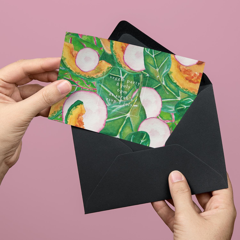 Veggie party invitations