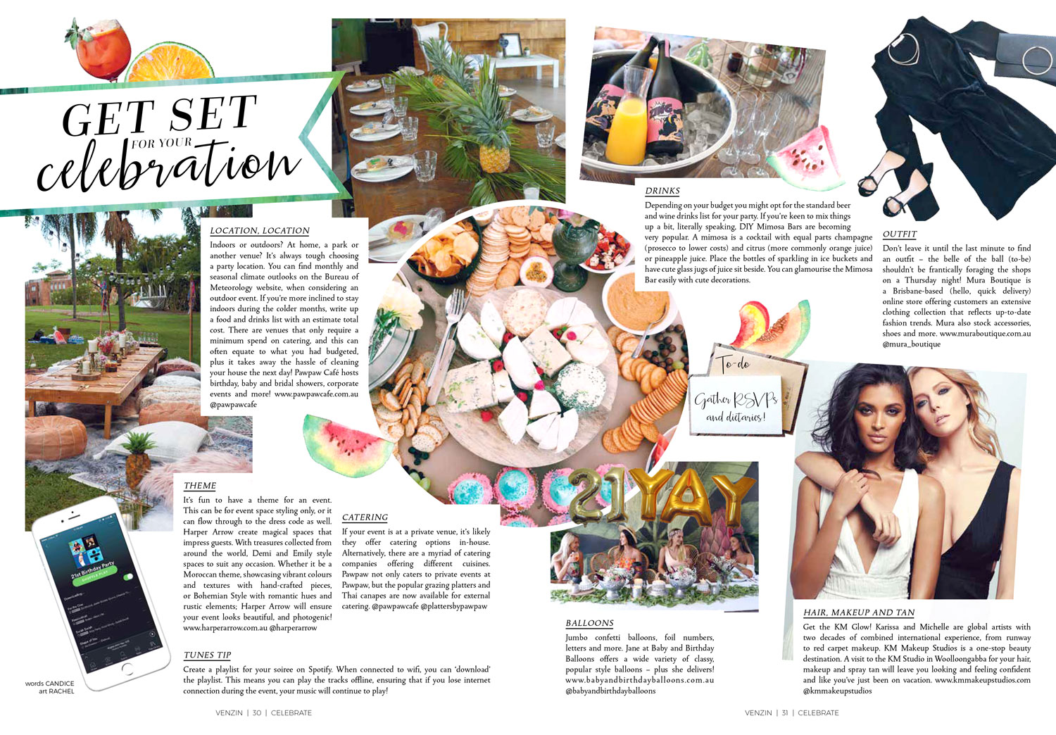 Watercolour watermelons and nectarine featured in Venzin Magazine #02