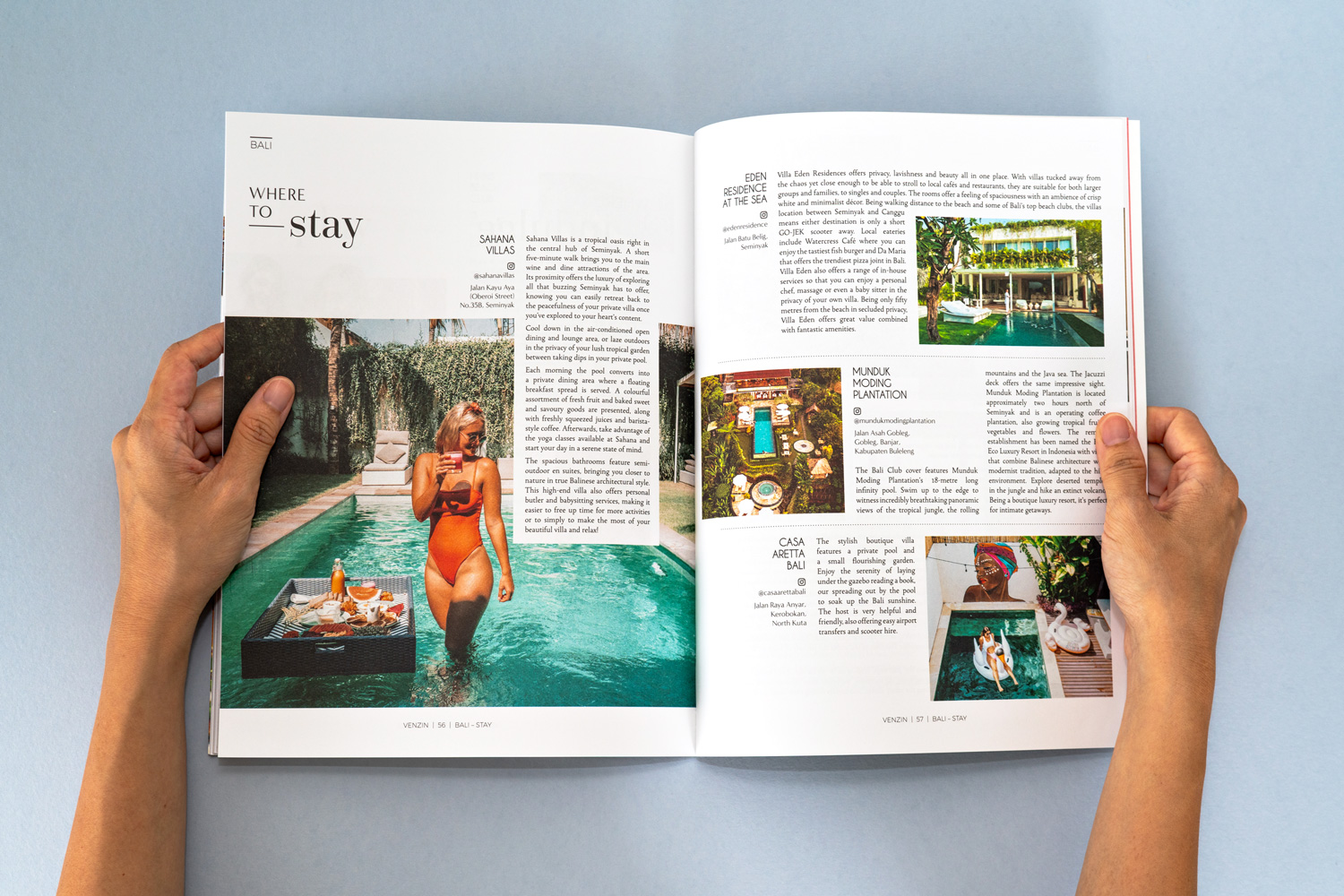 Venzin / The Bali Club Magazine design