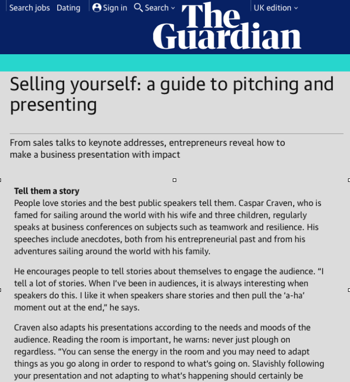 Caspar was featured in this article in the Guardian on how entrepreneurs should sell themselves.