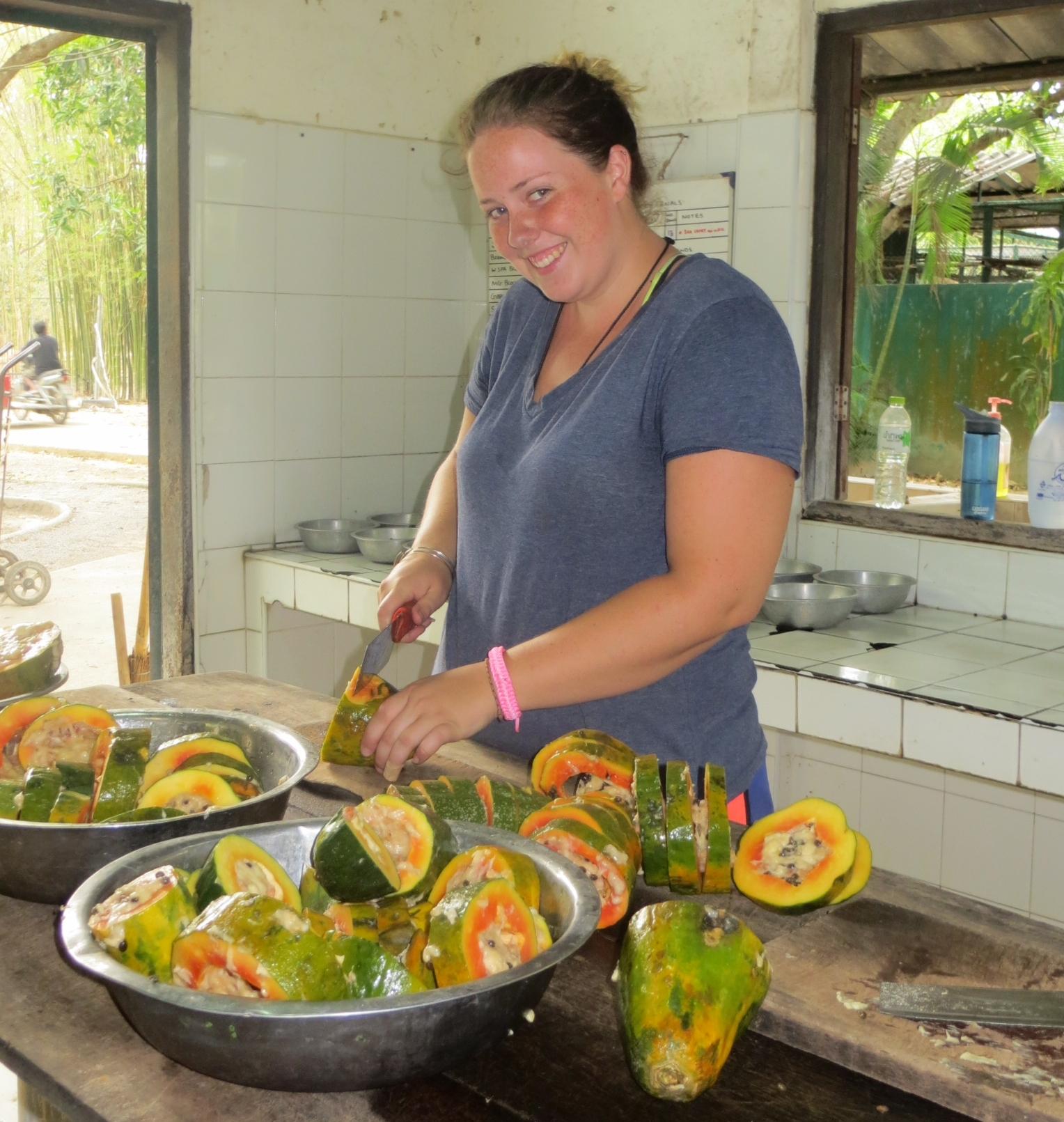 Volunteers working on breakfast for the wild patients.