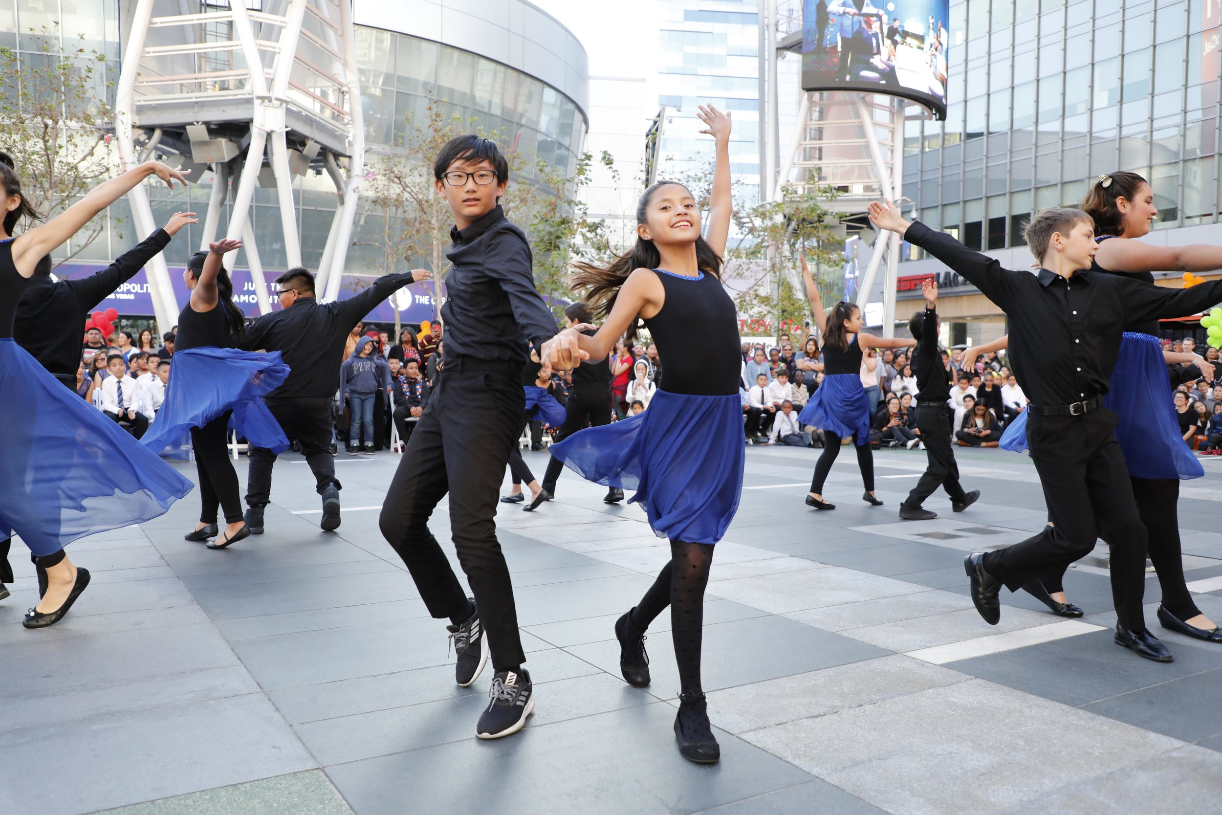 Conga Kids performing at L.A. LIVE - We hold our Competition Grand Finals in downtown Los Angeles at L.A. Live and the Conga Room!