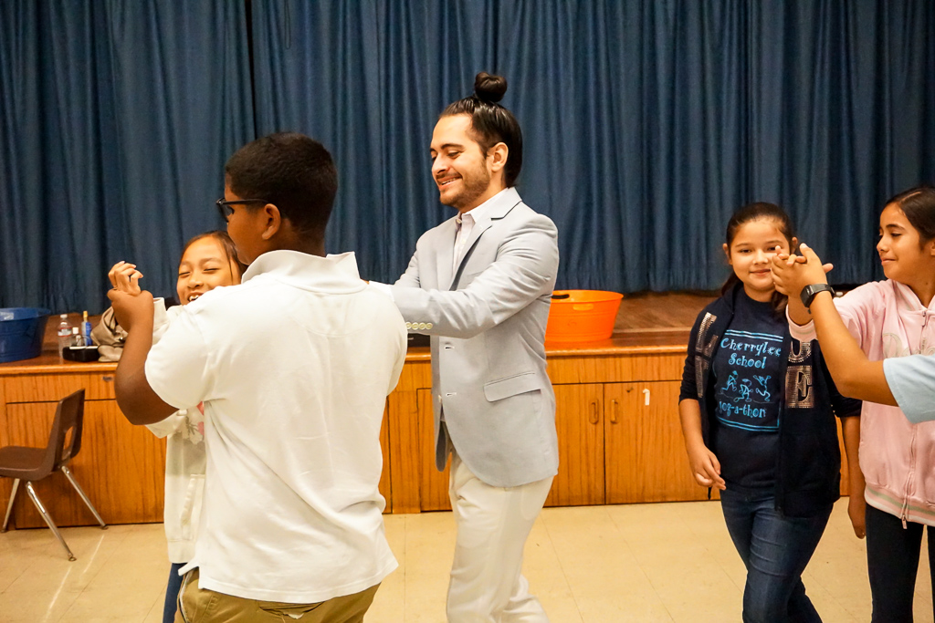 CK Teaching Artist Joseph Baca with students at Cherrylee Elementary