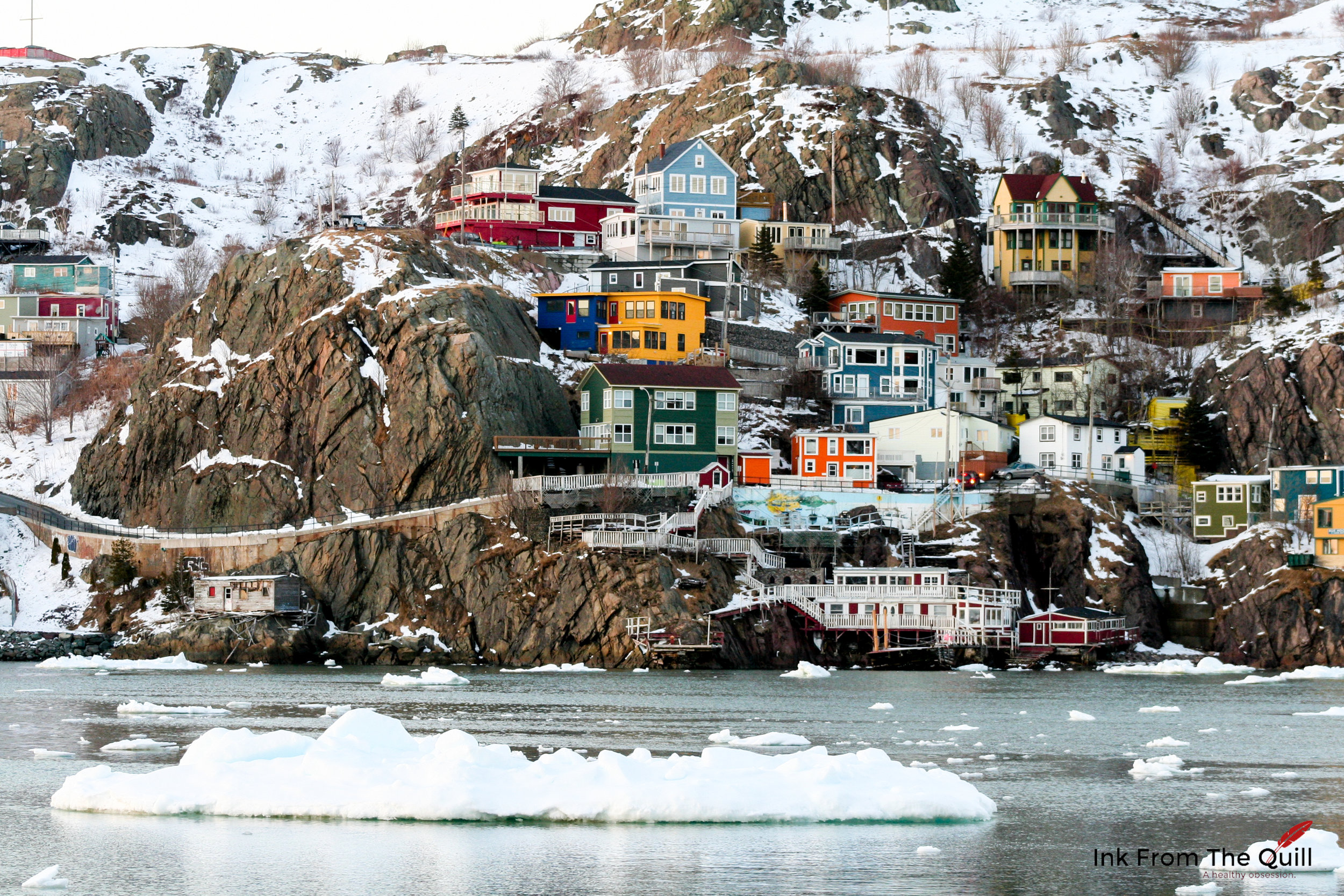 Sea ice in the St. John's harbour - The Battery in the background