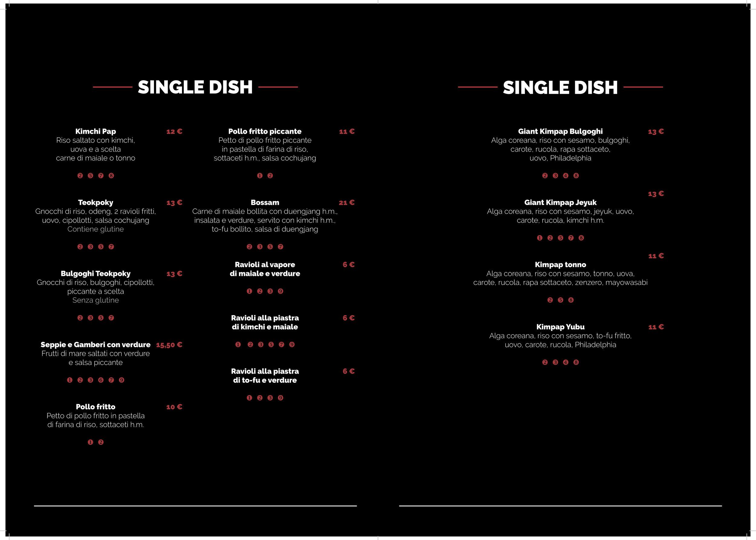 Layout menu ristorante