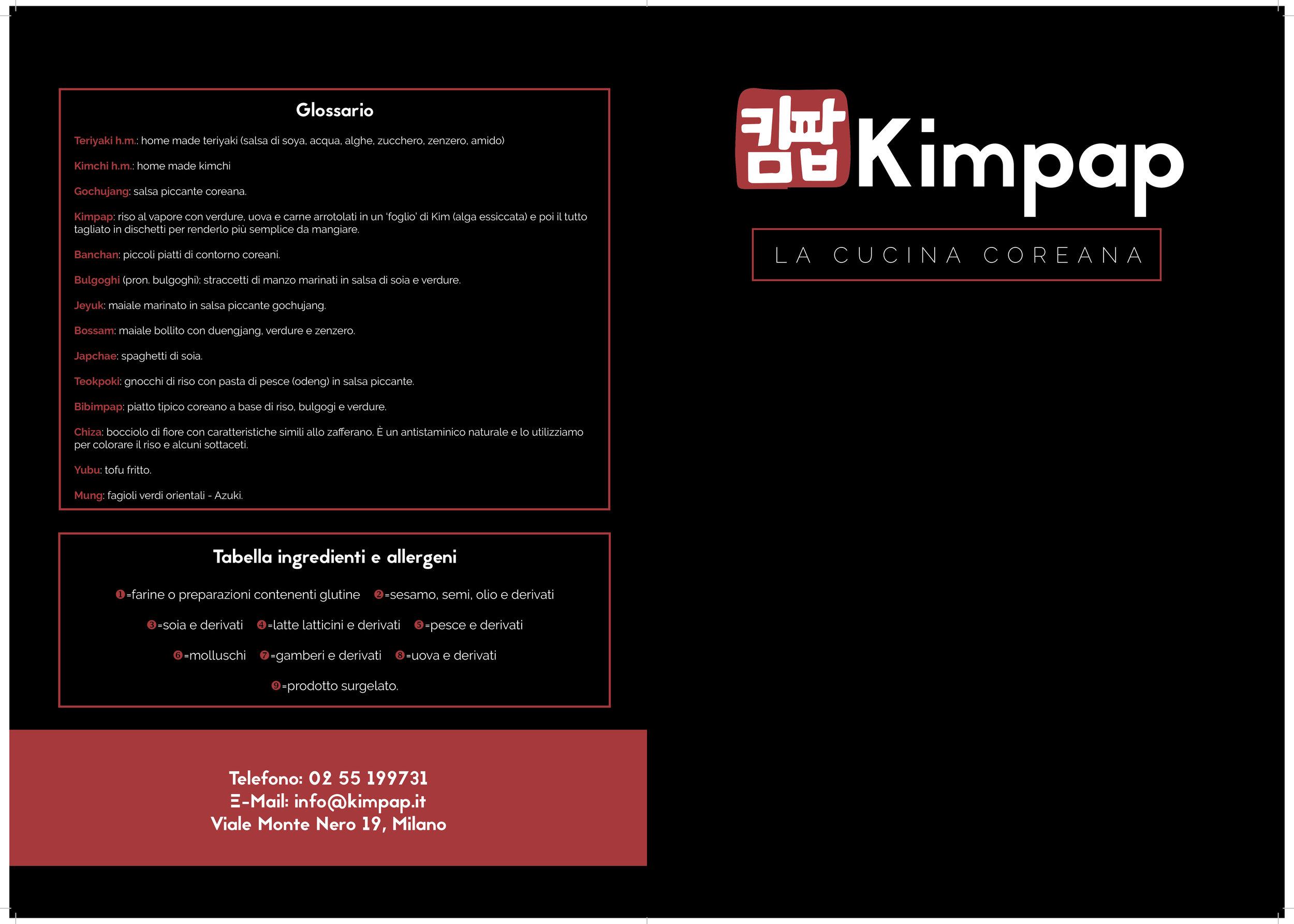 menu ristorante coreano