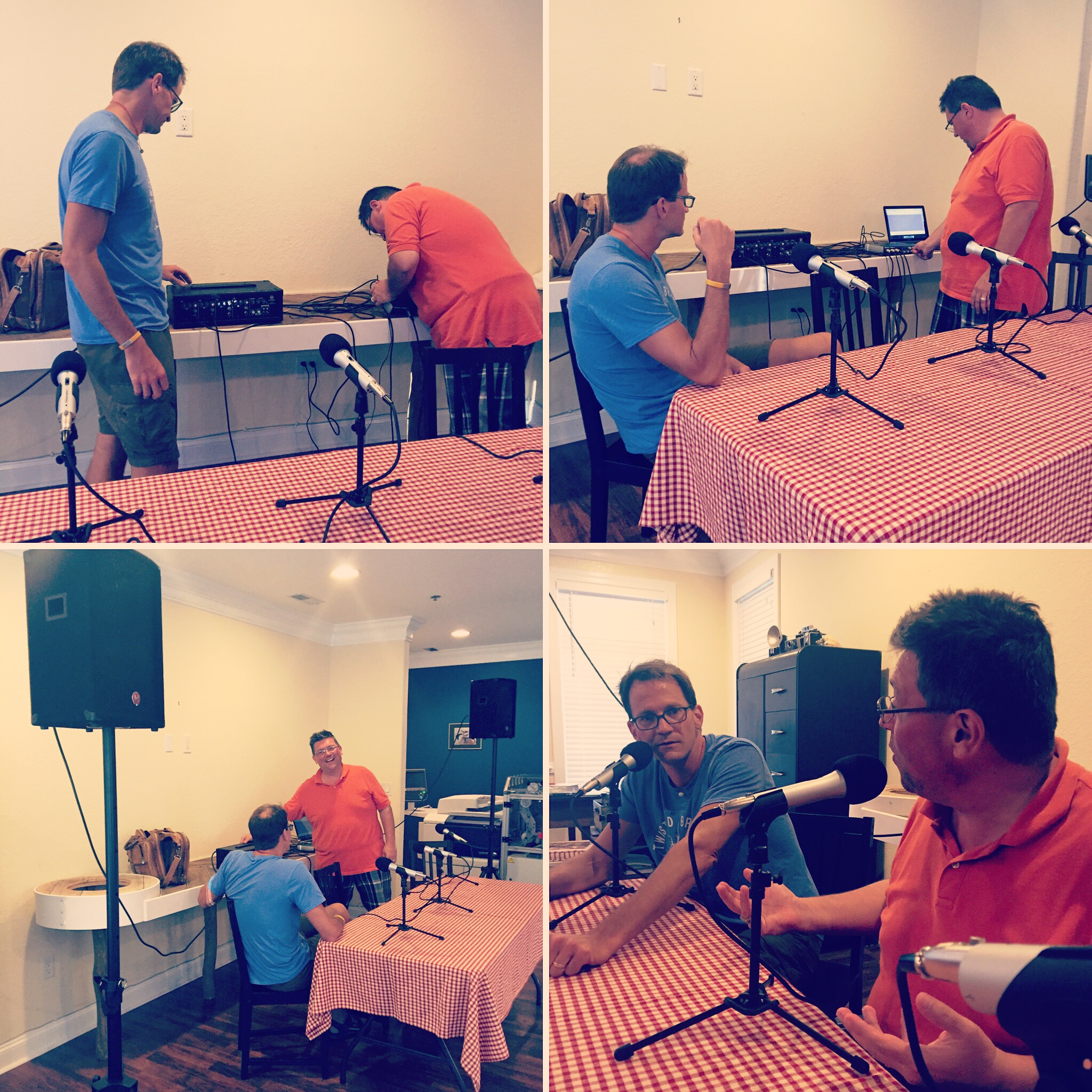 Action shots of Jeffrey Smith and Tony Russo setting up for our first ever live podcast.