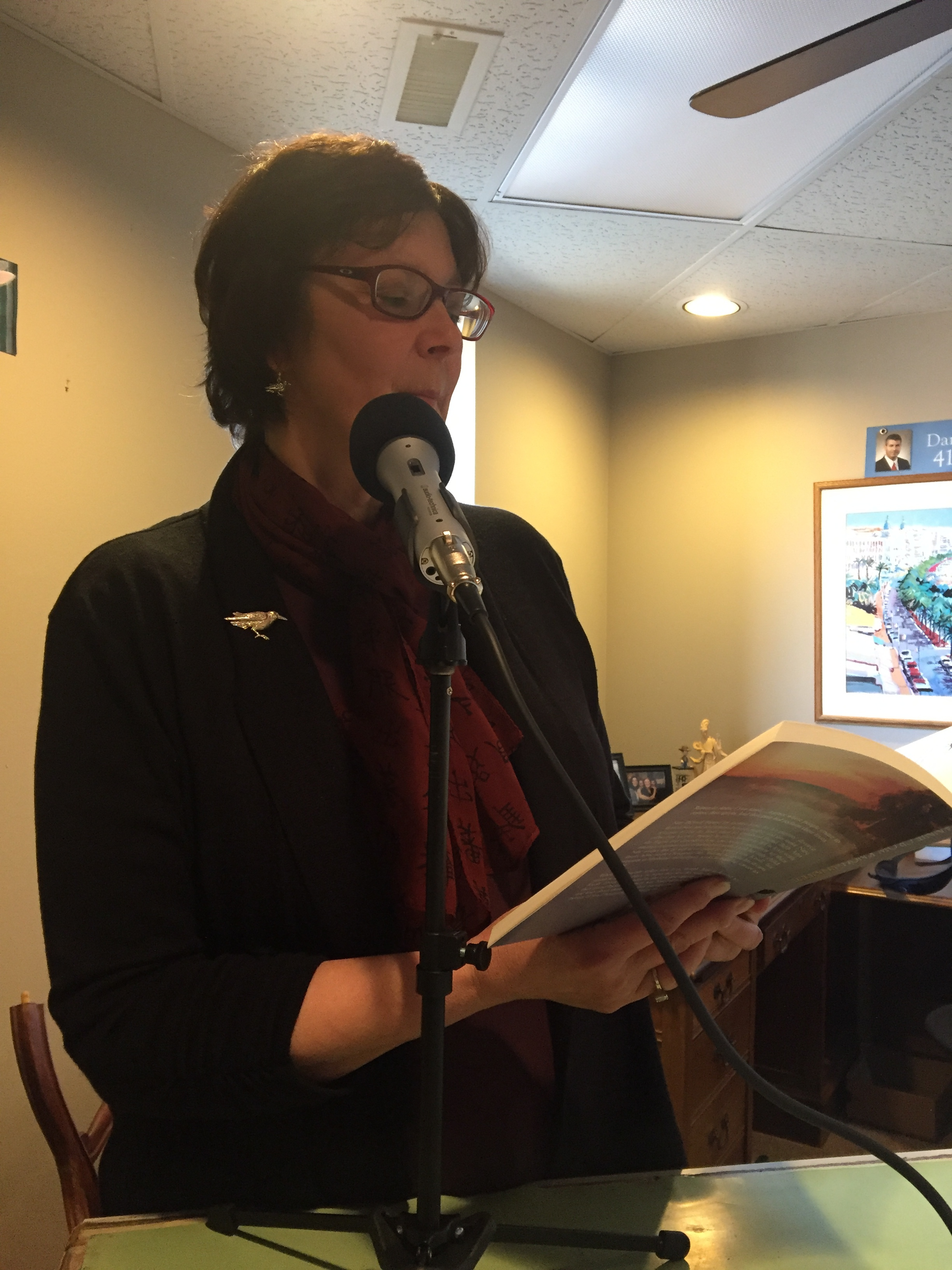 Gail gives a reading from  Moonrise .